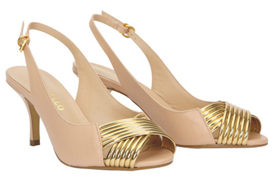 Leather sling-back with gold feature peep toe