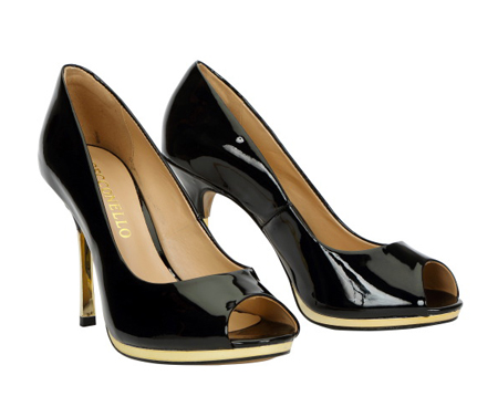 Patent leather peep toe