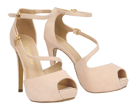 Suede Leather Shoes with Peep Toe and Ankle Strap