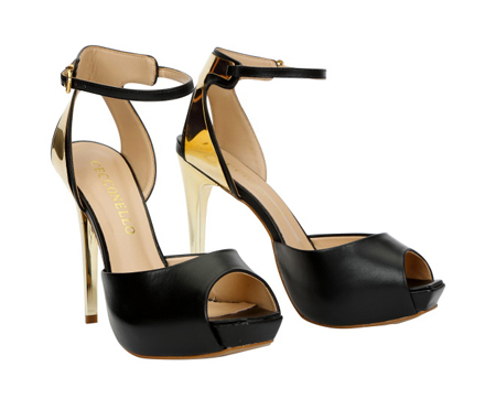 Leather Peep Toe Shoes with Ankle Strap