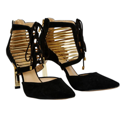 Cabra leather with gold strap and lace shoe
