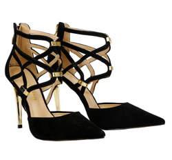 Cabra leather with stiletto heels and straps