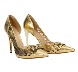 Crackled Gold Leather Shoes with Pointy Toe