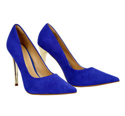 Cabra leather court with gold stiletto heel