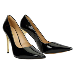 Patent leather court with gold stiletto heel
