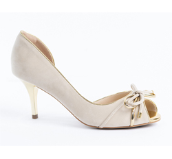Cabra leather semi-court, kitten heel
