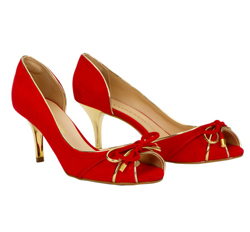 Cabra Leather Semi-Court Shoes, Kitten Heel (Suede)