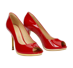 Patent leather peep toe