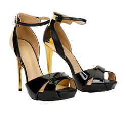 High heel leather shoe with gold heels and ankle strap